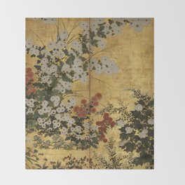 White Red Chrysanthemums Floral Japanese Gold Screen Throw Blanket