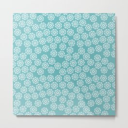 Artistic hand painted pastel teal white snow flakes pattern Metal Print