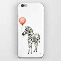Baby Zebra Whimsical Animal with Red Balloon Nursery Art iPhone & iPod Skin