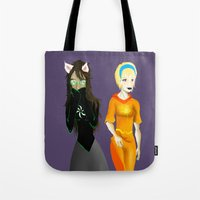 homestuck Tote Bags featuring Beta Babes by Paula Urruti