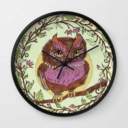 Small Pink Owlet With Wildflower Wreath Wall Clock