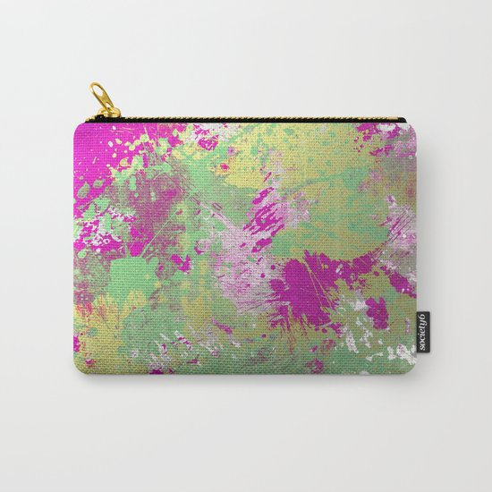 Metallic Pink Splatter Painting - Abstract pink, blue and gold metallic painting Carry-All Pouch