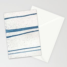 Parallel Universe [horizontal]: a pretty, minimal, abstract piece in lines of vibrant blue and white Stationery Cards