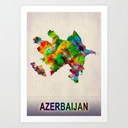 Azerbaijan Map in Watercolor Art Print