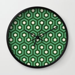 Emerald Goth Hexagon Pattern Wall Clock