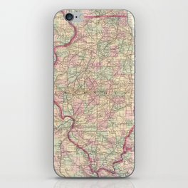 Vintage Map of Illinois (1874)  iPhone Skin