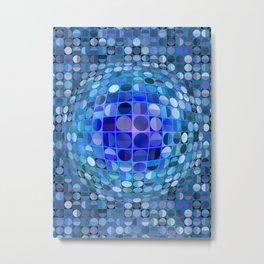 Optical Illusion Sphere - Blue Metal Print