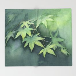 Japanese Maple Watercolor Green Leaves Throw Blanket