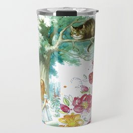 Floral Alice In Wonderland Travel Mug