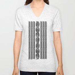 Cable Stripe Black Unisex V-Neck