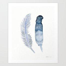 no.377x,  Minimalist 2 Blue feathers Art Print