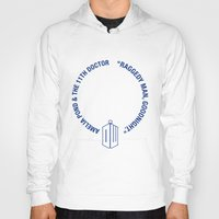 amy pond Hoodies featuring Doctor Who pals: the 10th Doctor & Amy Pond (white version) by logoloco