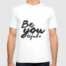 Be you tiful White MEDIUM Mens Fitted Tee