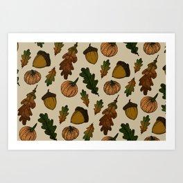 Autumn theme pattern Art Print
