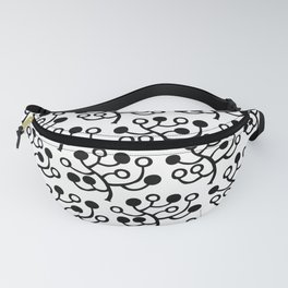 Mid Century Modern Berries Pattern Black & White Fanny Pack