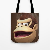 donkey kong Tote Bags featuring Triangles Video Games Heroes - Donkey Kong by s2lart
