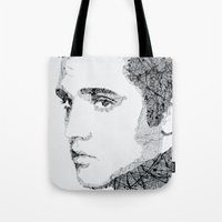 elvis Tote Bags featuring Elvis by urbanexpressionist