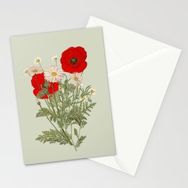 A country garden flower bouquet -poppies and daisies Stationery Cards
