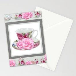 ABSTRACTEd PINK ROSE TEA TIME PORCELAIN ART Stationery Cards