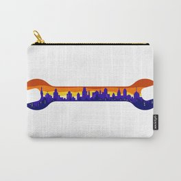 Wrench With Cityscape Buildings Silhouette Retro Carry-All Pouch