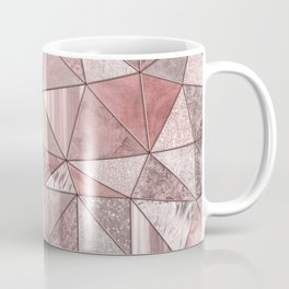 Soft Pink Coral Glamour Gemstone Triangles Coffee Mug
