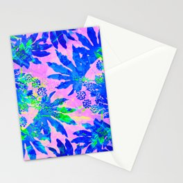 Tropical Adventure - Neon Blue, Pink and Green #tropical #homedecor Stationery Cards