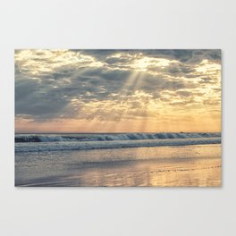 Rays From Above sun rays on Cayucos Beach Canvas Print