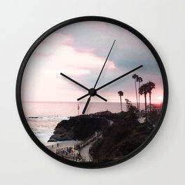 Laguna Beach | LoFi Relaxed Aesthetic Pinkish Sunset Palm Trees Hippie Ocean Horizon Waves Wall Clock