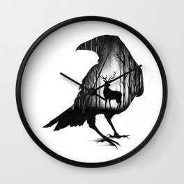 THE RAVEN AND THE DEER Wall Clock