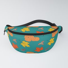 Autumn Leaves and Pumpkins Fall Illustration Pattern Fanny Pack