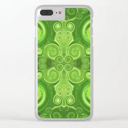 Pattern 37 - Green swirls Clear iPhone Case