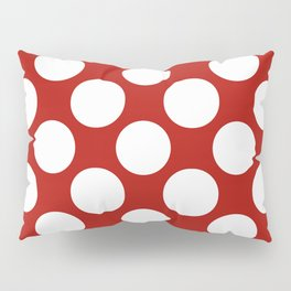 White & Red Navy Polkadot Pattern Pillow Sham