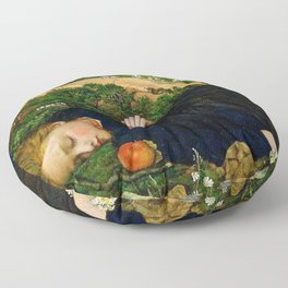 Robins of Modern Times, A girl and her dreams pastoral landscape by John Roddam Spencer Stanhope Floor Pillow