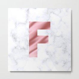 Pink Silk on Marble Initial Monogram Letter F Metal Print