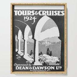 retro monochrome Tours and Cruises Serving Tray