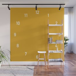 Numbers Clock - Mustard Wall Mural