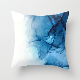 Blue Tides - Alcohol Ink Painting Throw Pillow