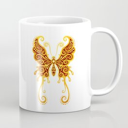 Intricate Red and Yellow Vintage Tribal Butterfly Coffee Mug