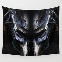 predator Wall Tapestries featuring Predator Helmet by Veylow