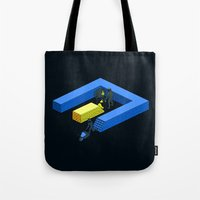 tron Tote Bags featuring Tron Wall by Krzysztof Kaluszka