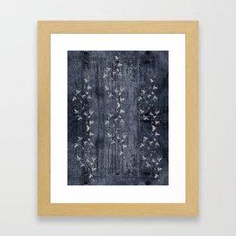 Flower Vines and Concrete Grunge Framed Art Print