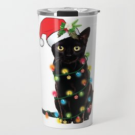 Santa Black Cat Tangled Up In Lights Christmas Santa Graphic Travel Mug