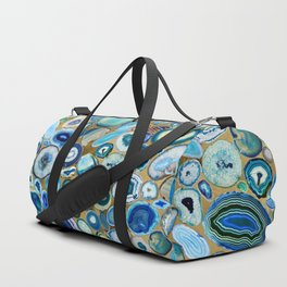 Blue Sea Agates on gold Duffle Bag