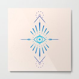 Evil Eye Blue Metal Print