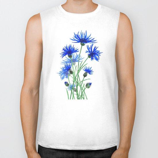 blue cornflower Biker Tank