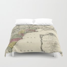 Colonial America Map by Matthaus Lotter (1776) Duvet Cover