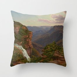 Weatherboard Creek Falls, Jamieson's Valley, New South Wales by Eu von Guerard Date 1862  Romanticis Throw Pillow
