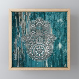 Silver Hamsa Hand On Turquoise Wood Framed Mini Art Print