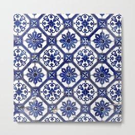 Blue and White Portuguese Tile - Metal Print
