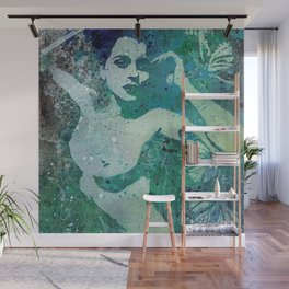Heavy Crown (nude butterfly pin up, erotic graffiti) Wall Mural
